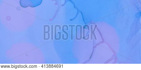 Fashion Ink Stains Marble. Blue Pastel Flow Splash. Pink Watercolour Background. Abstract Ink Stains