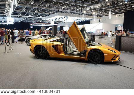 Dubai, Uae - November 16: The Lamborghini Aventador S Roadster Sportscar Is On Dubai Motor Show 2019