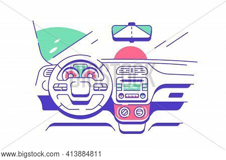 Driver Seat In Modern Car Vector Illustration. View Of Road From Drivers Seat Through Windshield Fla