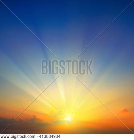 Beautiful Sky, Quiet Sunset Or Sunrise Background.