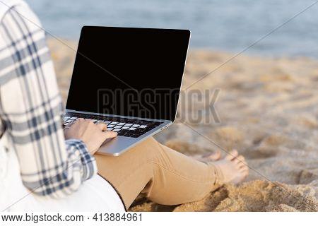 Freelance Work On The Beach. Unrecognaseble Woman Freelancer Working In Laptop On The Beach. Templat