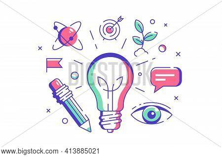 New Idea Symbol Vector Illustration. Light Bulb As Symbol For Idea Flat Style. Genius And Smart Solu