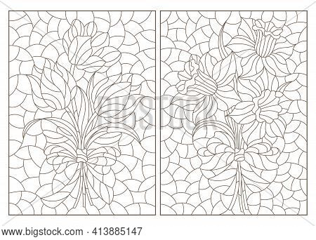 Set Of Contour Illustrations In Stained Glass Style With Bouquets Of Daffodils And Tulips, Dark Outl