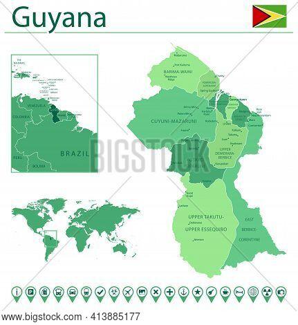 Guyana Detailed Map And Flag. Guyana On World Map.