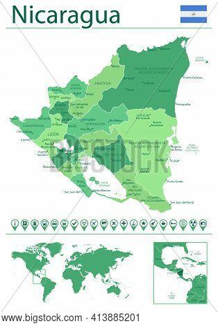 Nicaragua Detailed Map And Flag. Nicaragua On World Map.