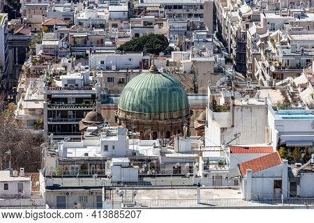 Athens City Greece And Dionisios Areopagitis Church Dome Aerial View From Lycabettus Mount. .