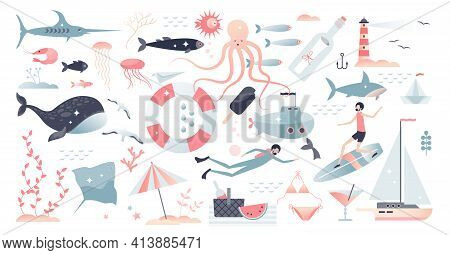 Marine Life, Underwater Wildlife, Fauna And Beach Set Tiny Person Concept