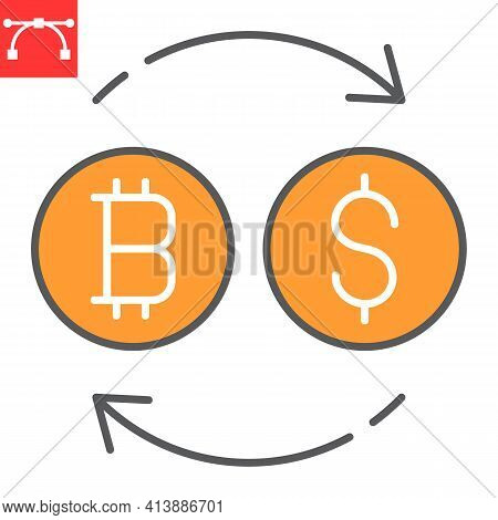 Bitcoin To Dollar Exchange Color Line Icon, Btc And Usd, Currency Exchange Vector Icon, Vector Graph