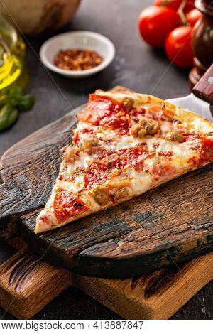 Meat Lover Pizza With Pepperoni, Ham And Sausage