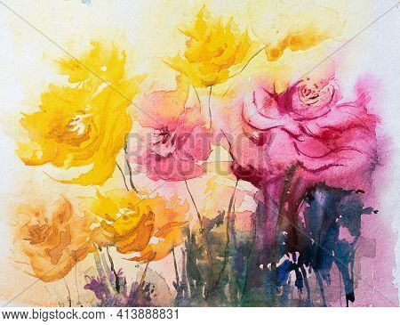 Beautiful Abstract Watercolor Floral Painting With Yellow And Red Flowers, White Background. Indian