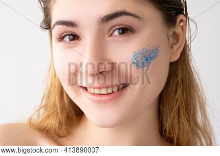 Facial Care. Skin Peeling Cosmetic Product. Beauty Hygiene. Portrait Of Happy Woman With Nude Makeup