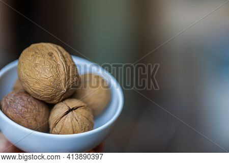 A Few Whole Walnuts In Round-shaped Shell Lie In Small White Plate On Blurred Bokeh Background. Plac