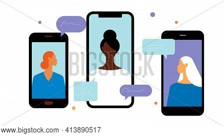 Phone Call Conference. Different Devices With Different People. Speech Bubbles. One Shared Call. Con