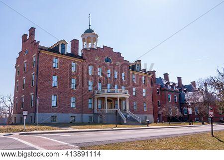Gettysburg, Pennsylvania, Usa March 14, 2021 Schmucker Hall On The Campus Of The Lutheran Seminary.