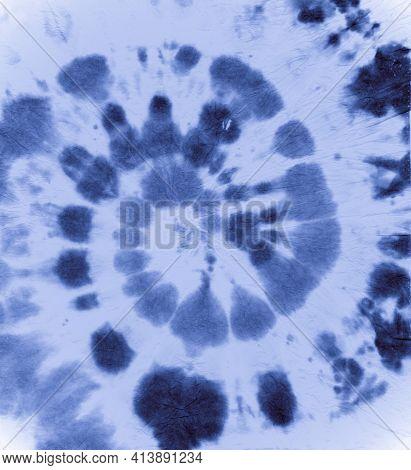 Indigo Tie Dye. Color Water Pattern. Abstract Art Painting. Blue Tye Dye Roll. Circle Backdrop. Hipp