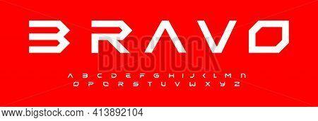 Modern Geometric Alphabet, Modular Font Design, Extended Futuristic Letters. Typeset For Branding, H