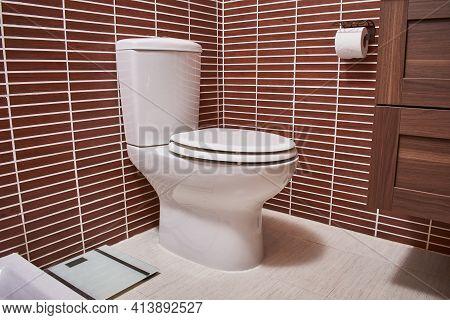 Porcelain Toilet Bowl Installed In A Bathroom