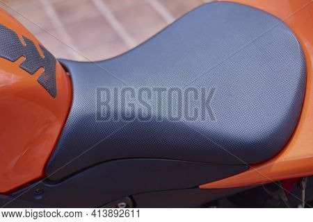 Black Textured Sports Bike Seat For Increased Rider Grip And Comfort