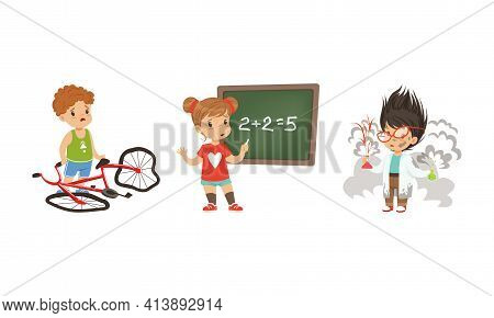 Frustrated Kids Experiencing Their Failures And Mistakes Vector Set