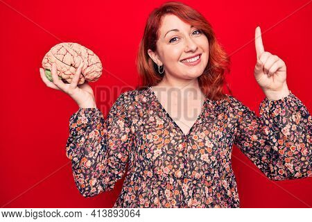 Young beautiful redhead woman asking for care memory holding brain over red backgroud smiling with an idea or question pointing finger with happy face, number one