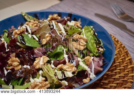 Delicious Salad With A Mixture Of Lettuce, Walnuts, Extra Virgin Olive Oil, Balsamic Vinegar, Mayonn