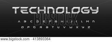 Metal Geometric Alphabet, Iron Font Design, Chrome Effect Letters. Steel Typeset For Headline And Fu