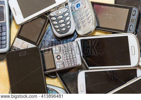 Old Cell Phone Collection - Recycling Of Valuable Raw Materials From Smartphones