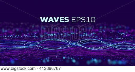 Sound Wave Tranfer Motion. Speed Particle Fast Data Flow. Futuristic Stream Abstract Vector Backgrou