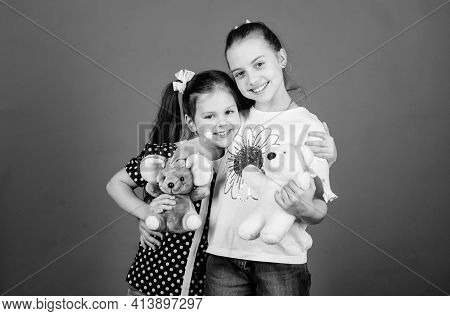 Toys Store. Love And Friendship. Kids Adorable Cute Girls Play With Soft Toys. Happy Childhood. Chil