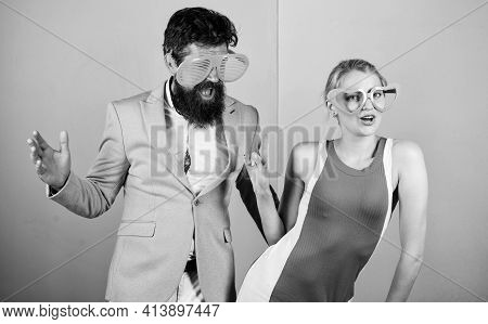 Celebrating Holiday. Bearded Man Pretty Woman Party Goggles Celebrating. Corporate Culture. Diving I