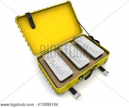 One Suitcase With Platinum Ingots. One Suitcase Filled With Three Ingots Of 999.9 Fine Platinum. 3d