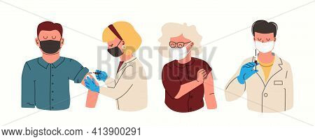 Covid-19. Vaccination Concept For Immunity Health. Doctor Makes An Injection Of Flu Vaccine To Man A