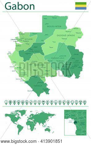 Gabon Detailed Map And Flag. Gabon On World Map.