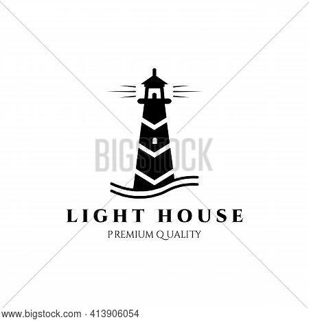 Lighthouse Guard Tower Logo Vector Illustration Design, Black Vintage Symbol