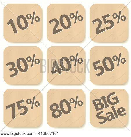 Cardboard Discount Sticker Set. Sale Banner, Price Tags, Badges And Big Deals Labels. Vector