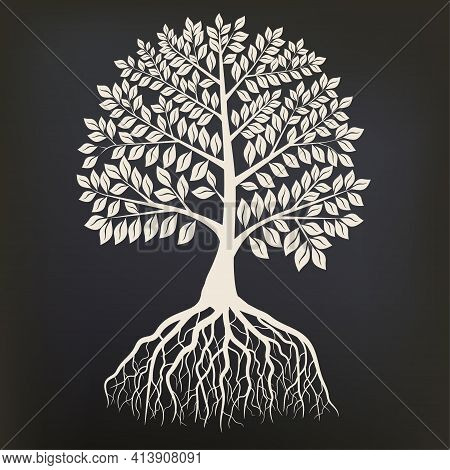 Tree With Root System Silhouette Isolated On Dark Background. Vector