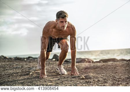Running Athlete Man. Male Runner Sprinting During Outdoors Training For Marathon Run.