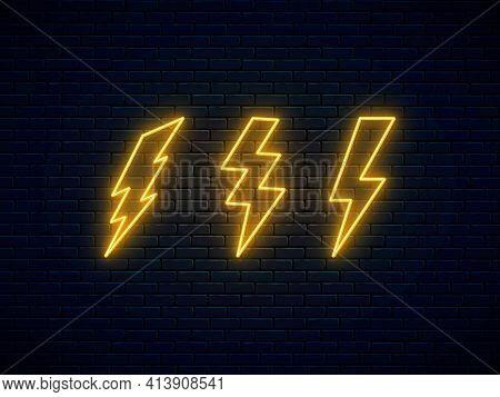 Neon Lightning Bolt Set. Lightning, Thunder And Electricity Sign. Banner Design, Bright Advertising