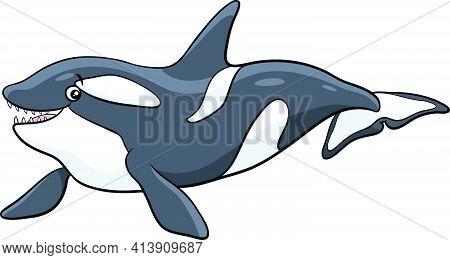 Cartoon Illustration Of Orca Or Killer Whale Sea Animal Character