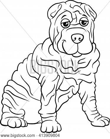 Black And White Cartoon Illustration Of Shar Pei Purebred Dog Animal Character Coloring Book Page
