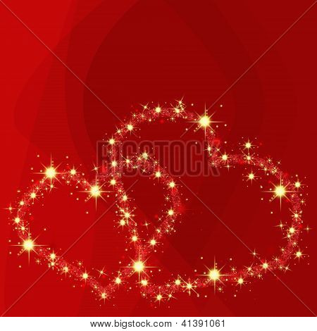 Romantic Abstract Red Background With Shining Hearts And Space For Text