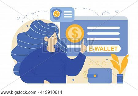 Wallet With Money Dollar Bill, Concept Of Online Payments. Money Transfer. E-wallet. Flat Abstract M