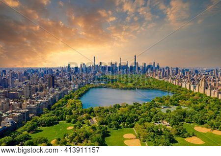 Central Park Aerial View, Manhattan, New York. Park Is Surrounded By Skyscraper.
