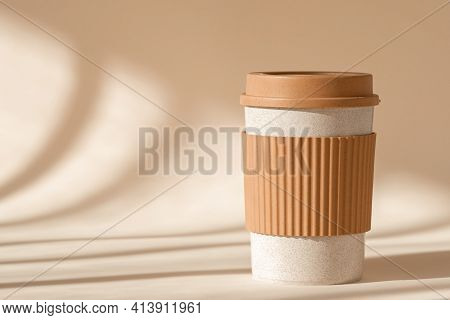 Reusable Cup, Biodegradable Travel Plastic Coffee Mug For Take Away. Sustainable Bamboo Eco Friendly