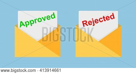 Approved And Rejected Letters. Check And Confirmation Signs. Mark And Cross Mail. Vector Eps10
