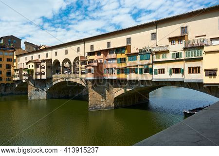Close Up Of Ponte Vecchio On A Beautiful Sunny Spring Day With Blue Sky In Florence, Italy. Popular