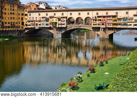 View Of Ponte Vecchio On A Beautiful Sunny Spring Day With Blue Sky In Florence, Italy. Popular Medi