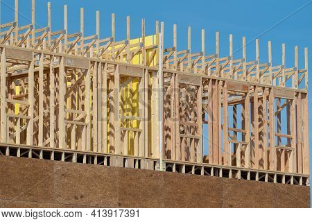 New Home Construction Framing Site Studs Wall