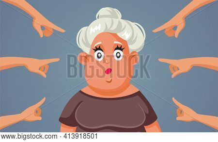 Fingers Pointing To Middle-aged Adult Woman Vector Illustration