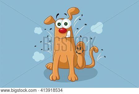 Funny Cartoon Dog Scratches Fleas Off Vector Cartoon